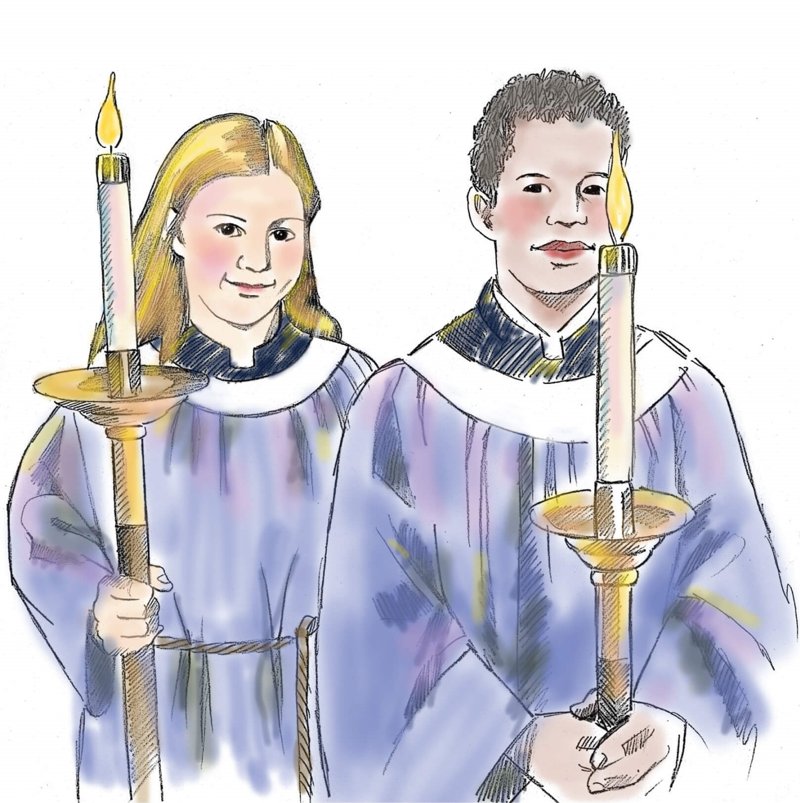 acolytes illustration girl and boy